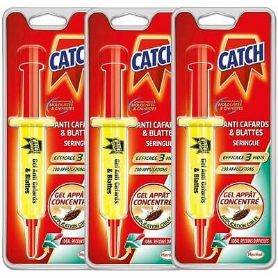 CATCH Gel Anti-cafards 3 Seringue 10 g - Produit Anti Cafards de Maison Puissant
