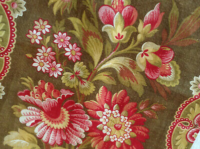 Lovely Antique  19th Century French Foral Fabric printed Cotton Shabby Chic Old