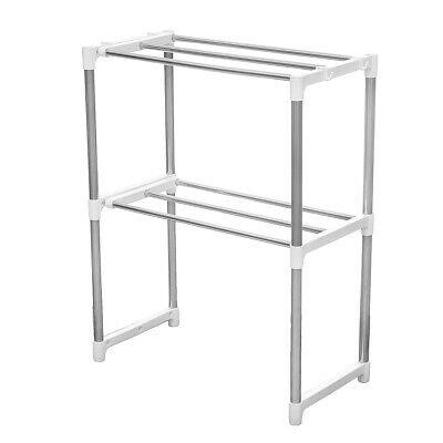 2 Layers Microwave Oven Stainless Steel Rack Kitchen Storage Shelf Container Kit