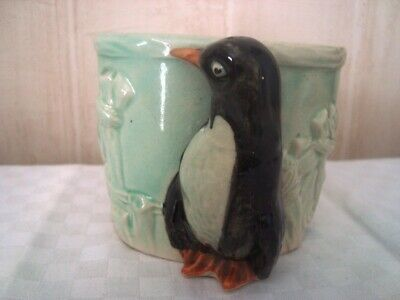 Vintage Japanese Hand-Painted China Planter Pot With Penguin ( Stamped K JAPAN )