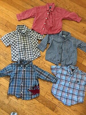 Toddler Boys Button Down Shirts 12-18 Months Tommy Hilfiger Old Navy Chaps