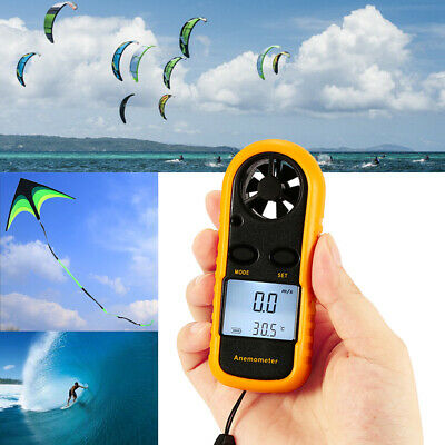Mini LCD Wind Speed Gauge Air Velocity Meter Digital Anemometer Thermometer