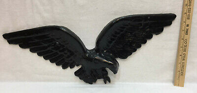 Cast Iron Flying American Bald Eagle Wall Hanging Art Black Paint Vintage 21""