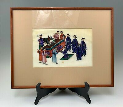 Larger c1870 Chinese Painting on Delicate Rice Paper Men Gathered at Altar