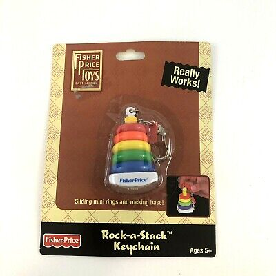 Fisher-Price ROCK-A-STACK Keychain Keyring Basic Fun Miniature Pull Toy Doll NEW