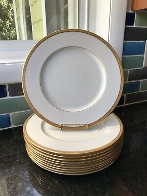 Set of 10 Vintage Gold Rimmed Lenox Dinner Plates