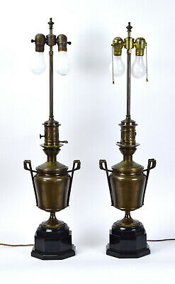 Pair Bronze Egyptian Revival Neoclassical Style Table Lamps Black Marble Bases