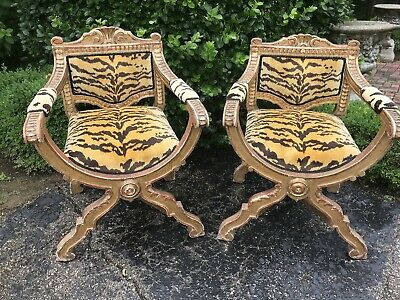 "Pair Antique 19th Century Italian Giltwood Savonarola Scalamandre ""Tigre"" Chairs"