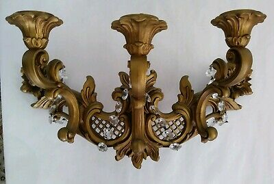 Vintage 1966 HOMCO Gold 3 Arm Candle Wall Sconce Syroco 4002 T Hollywood Regency