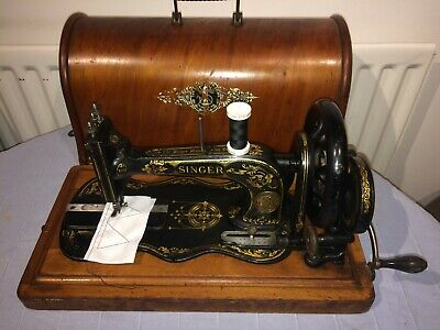 Antique Singer 12K fiddle base handcrank sewing Machine with Acanthus leaves