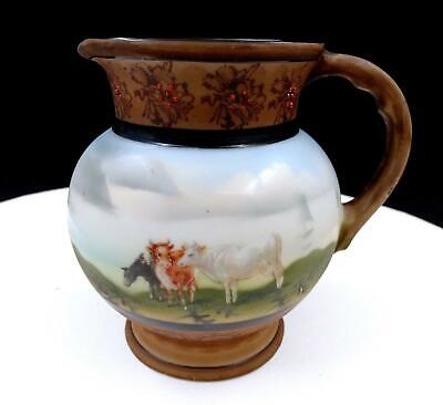 """ROYAL BAYREUTH COWS AND LANDSCAPE FLORAL WITH ENAMEL 4 1/2"""" CREAM PITCHER 1900's"""