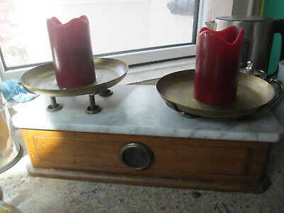 Vintage Antique Brass and Wooden French Scales With Marble Top