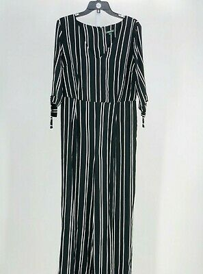 Wild Fable Women's Black Striped 3/4 Sleeve V-Neck Jumpsuit Size Large NEW