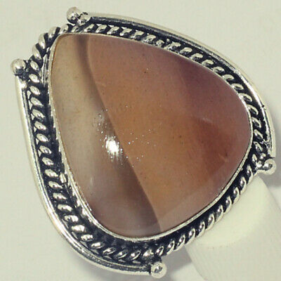 P711  Mookaite & 925 Silver Plated Handmade Ring Jewelry US Size 6.7