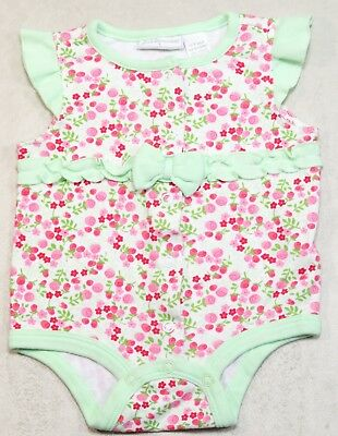 First Impressions 0-3 Month Green Ruffle Pink Flower Baby Girl Romper Outfit