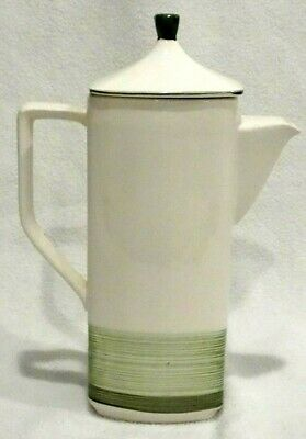 """Vintage Mid Century Modern Imperial Green & White 11"""" Tall Coffee Pot"""