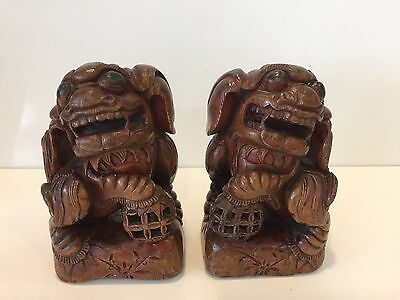 "Antique Pair Chinese Hand Carved Wood Foo Dog Statue, 7"" Tall x 4"" Wide x 3"" D"