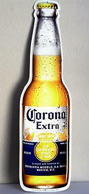 """Corona Extra Beer New Bottle Shaped Metal Sign .... 6 """" x 22 """""""