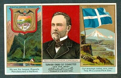 1888 ORGEON State Map DUKE Tobacco Card N133 Governor SYLVESTER PENNOYER