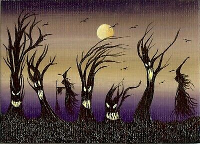 ACEO ORIGINAL Witches Spooky Forest Ravens Halloween Fantasy Art Painting HYMES