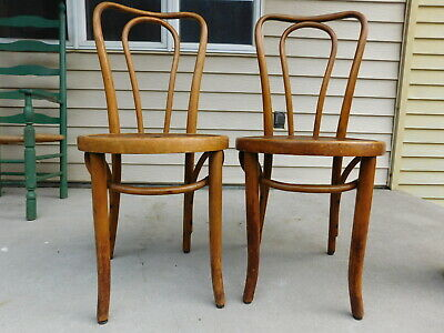 Pair Mid Century Czechoslovakia Bentwood Thonet Chairs Embossed Starburst Seats
