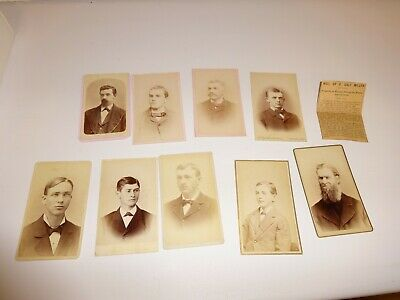 Lot of 8 Cabinet Photos CDV Pictures - Livonia, Plymouth, Michigan
