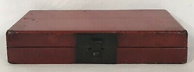 Antique 19th C Chinese Lacquer Leather Document Box - Red