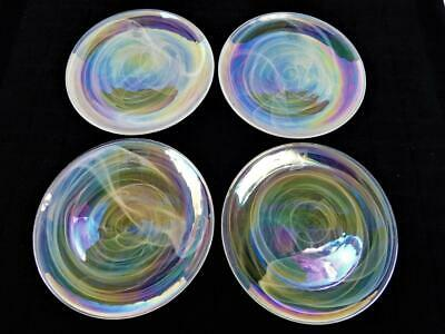 4 New Artistic Accents Pearl Opal Iridescent Dinner Plates 11 1/4""