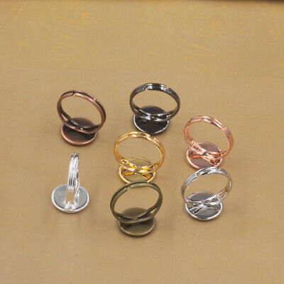 10PCS Alloy Flat Ring Blanks Ring Base Adjustable DIY Jewelry Making Round