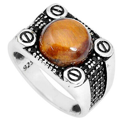 Liquidation Sale 6.30cts natural tiger's eye topaz mens ring size 10.5 a95320