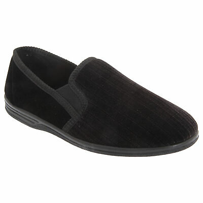 MENS ZEDZZZ WARM LINED VELOUR DOUBLE GUSSET FULL SLIPPERS MS483 KD