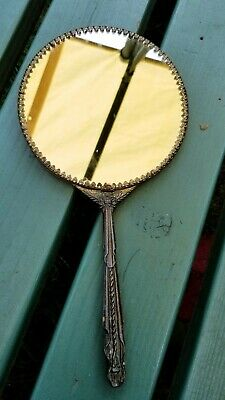 Antique Vintage Art Deco Hand Held Mirror Brass Gold Tone 2 sided Victorian styl
