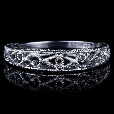 Sterling Silver Wedding Band Fine Ring Setting Filigree Gold Art Nouveau Antique