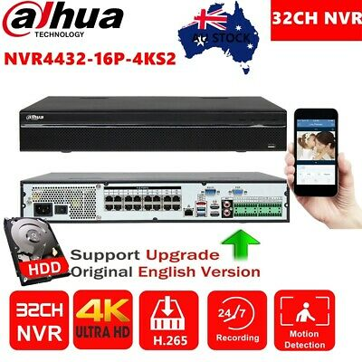 Dahua 32CH NVR4432-16P-4KS2 16POE 2/3/4TB HDD Home Surveillanc NVR For IP Camera