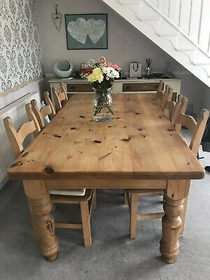 Large 7x3.5ft Pine Farmhouse Rustic Kitchen Dining Table And 8 chairs