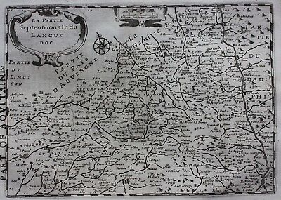 Original antique map FRANCE, NORTHERN LANGUEDOC, Mercator / Hondius, 1637