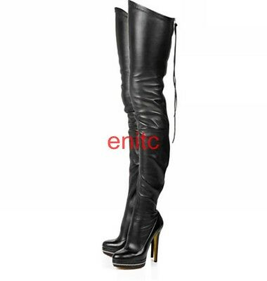 Stiletto Heel Platform Women's Zip Over The Knee Thigh High Boots Clu Black Shoe