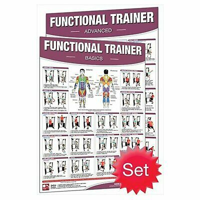 Productive Fitness Poster Series Basic Advanced Functional Trainer Laminated Set