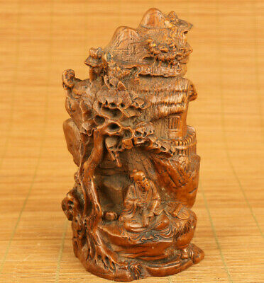 Chinese old boxwood hand carved under the tree Buddha statue netsuke decoration