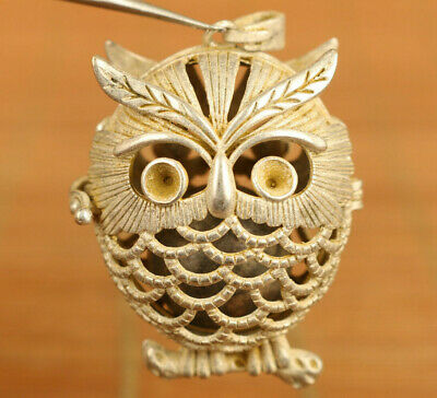 Asian copper silver hand carved owl statue netsuke pendant noble gift decoration