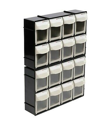 Motamec Modular Tilt Bin Parts Storage Wall Compartment 2 SMALL Units / 16 Bins