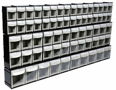 Motamec Modular Tilt Bin Parts Storage Wall Compartment 10 MIX Units / 66 Bins