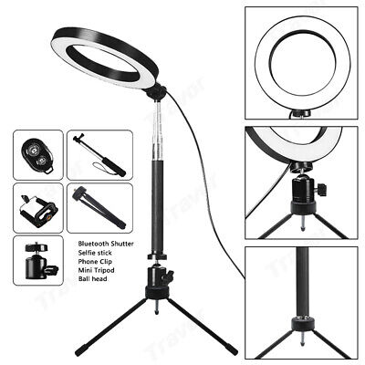 "6"" Dimmable LED Ring Video Light Makeup Studio Photography Lighting Kit + Tripod"