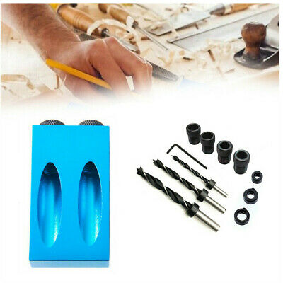 Pocket Hole Jig Kit 15° Angle 8/10mm Adapter Drill Bit Guide Woodworking M4P8Y