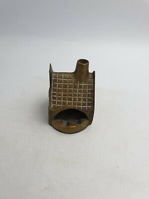 Vtg Solid Brass Cottage House W/Chimney Shaped Ashtray Tiled Roof Detail Heavy