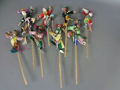 EIGHT unusual vintage Japanese  stick puppets,ceramic heads,beautiful clothing