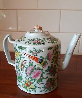 Circa 1870 Antique Chinese Cantonese Porcelain Teapot With Birds Flowers Fruits