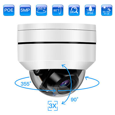 5MP IP Camera POE IR 100 FT 3.5-10.5mm Security Outdoor For Parking Monitoring