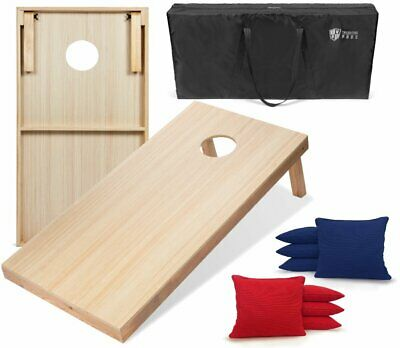 New Unfinished Solid Wood Bean Bag Toss Cornhole Board Game Set Size 4x2'