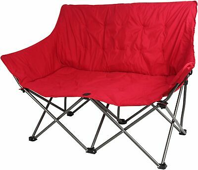 Camping Chair Loveseat Padded Folding Couple 2 Person Portable Double Tube Frame